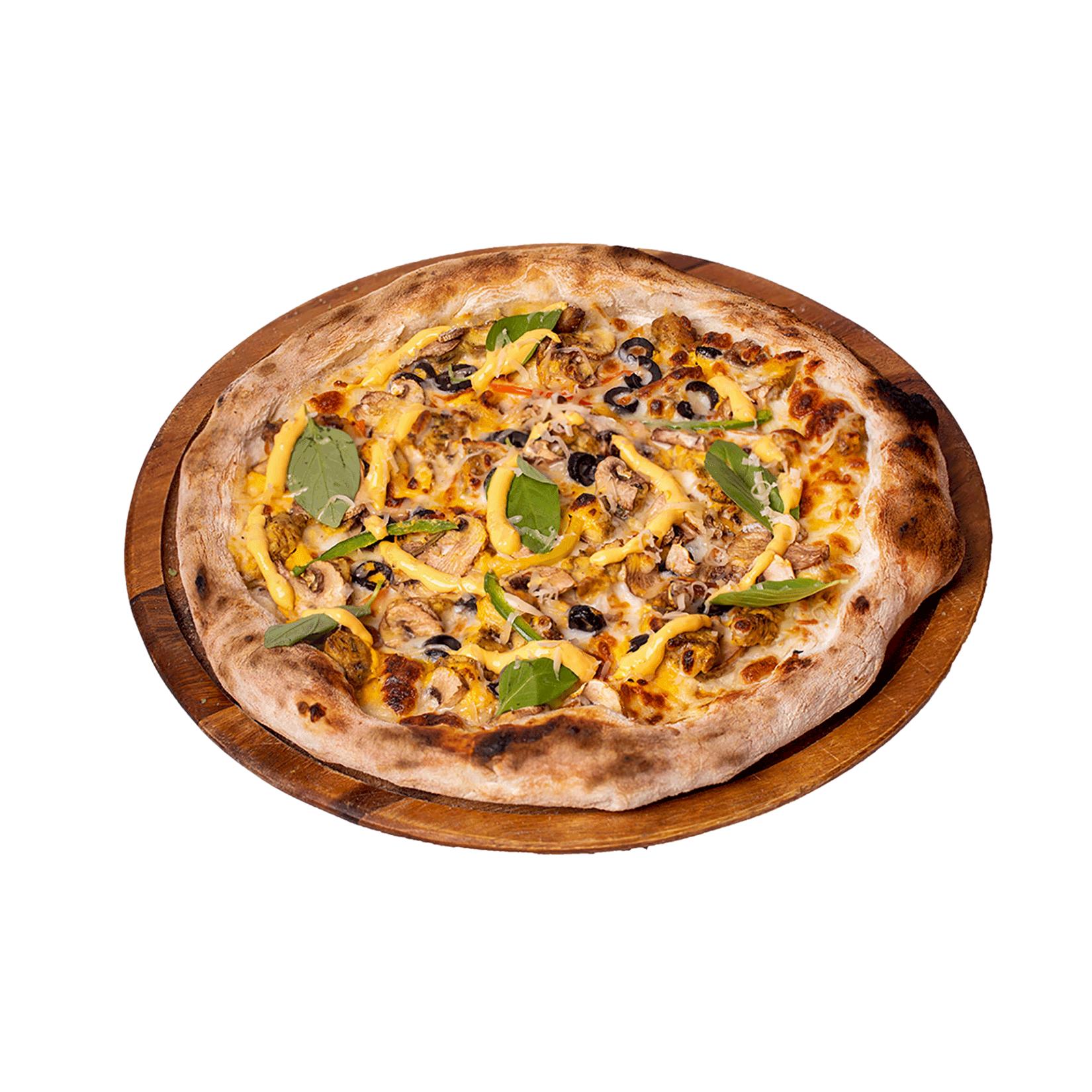 پیتزا ناپولی (مرغ و قارچ)
